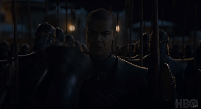 Jacob Anderson as Grey Worm in Game of Thrones season 8 trailer screencap (HBO)