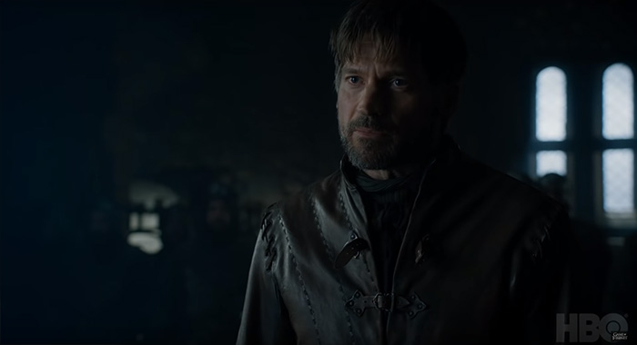 Nikolaj Coster-Waldau as Jaime Lannister in Game of Thrones season 8 trailer screencap (HBO)