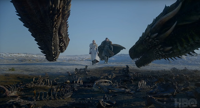 Emilia Clarke and Kit Harington in Game of Thrones season 8 trailer screencap (HBO)