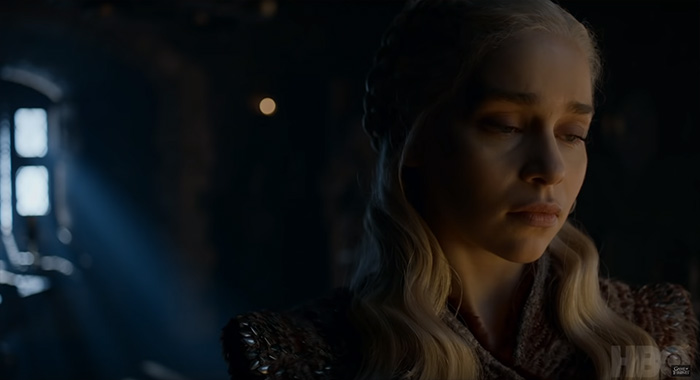 Emilia Clarke in Game of Thrones season 8 trailer screencap (HBO)