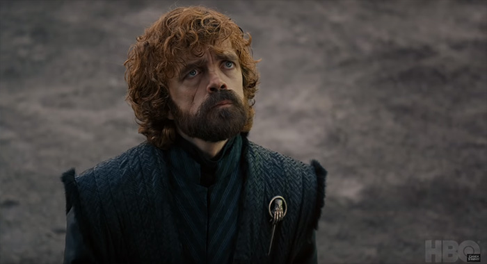 Peter Dinklage as Tyrion in Game of Thrones season 8 trailer screencap (HBO)