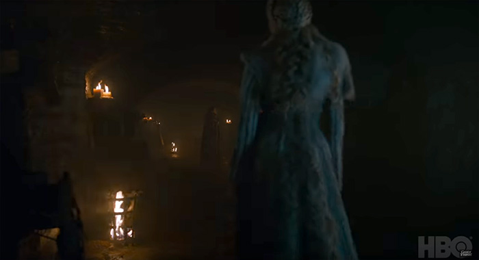 Kit Harington as Jon Snow / Aegon Targaryen and Emilia Clarke as Daenerys Targaryen in Game of Thrones season 8 trailer screencap (HBO)