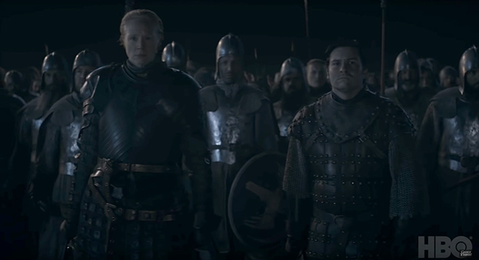 Gwendoline Christie as Brienne and Daniel Portman as Podrick in Game of Thrones season 8 trailer screencap (HBO)