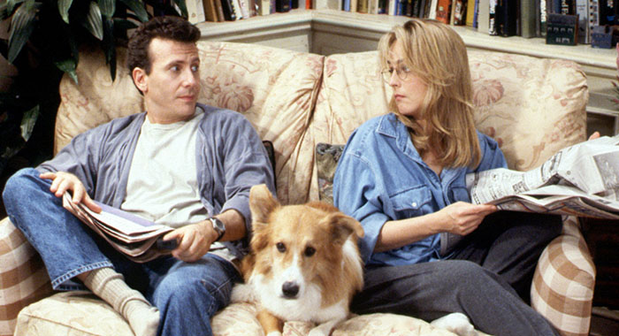 MAD ABOUT YOU, Paul Reiser, Maui the dog (as Murray), Helen Hunt, (1996-Season 4), 1993-99, Photo: TriStar Television/Courtesy Everett Collection