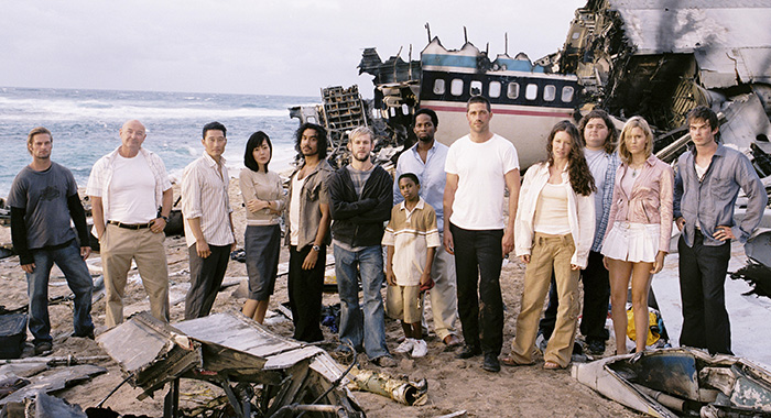 LOST, (from left): Josh Holloway, Terry O'Quinn, Daniel Dae Kim, Yun Jin Kim, Naveen Andrews, Dominic Monoghan, Malcolm David Kelley, Harold Perrineau, Matthew Fox, Evangeline Lilly, Jorge Garcia, Maggie Grace, Ian Somerhalder, (Season 1), 2004-2010. photo: Bob D'Amico / © ABC / Courtesy: Everett Collection