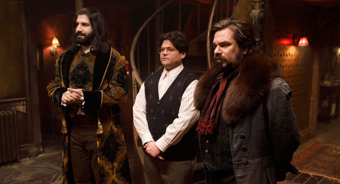 "WHAT WE DO IN THE SHADOWS -- ""Pilot"" -- Season 1, Episode 1 - Pictured (l-r): Kayvan Novak as Nandor, Harvey Guillen as Guillermo, Matt Berry as Lazlo (John P Johnson/FX)"