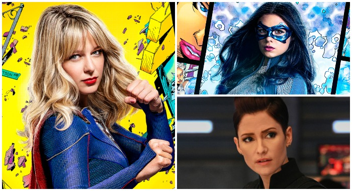 Melissa Benoist, Nicole Maines and Chyler Leighand Supergirl