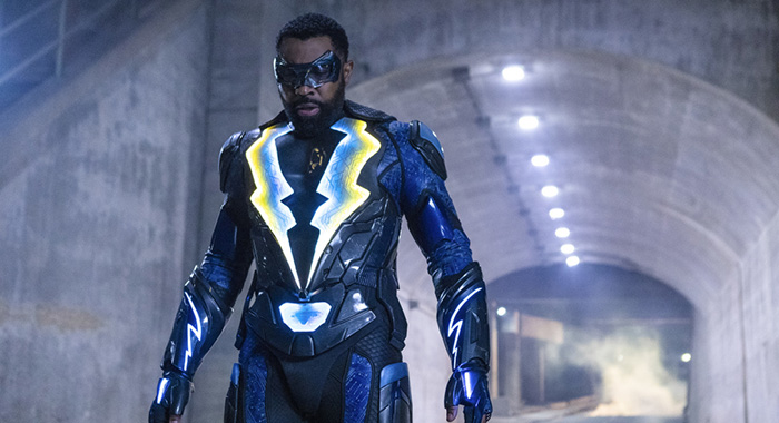 "Black Lightning -- ""The Book of the Apocalypse: Chapter Two: The Omega"" -- Image BLK216c_0386b.jpg -- Pictured: Cress Williams as Black Lightning -- Photo: Josh Stringer/The CW -- © 2019 The CW Network, LLC. All rights reserved"