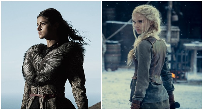 Anya Chalotra as Yennefer in The Witcher season 1; Freya Allan in The Witcher season 2