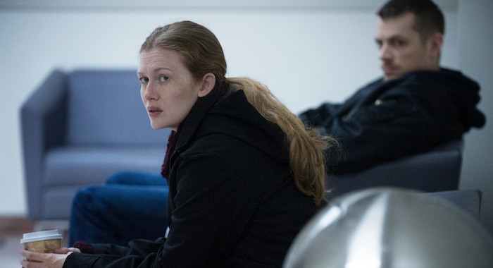 "Mireille Enos (L) and Joel Kinnaman (R) in a scene from Netflix's ""The Killing"" Season 4. Photo Credit: Carole Segal for Netflix."