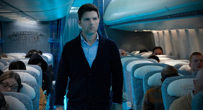 """Nightmare at 30,000 Feet"" -- Pictured: Adam Scott as Justin Sanderson of the CBS All Access series THE TWILIGHT ZONE available to stream on Monday, April 1st. Photo Cr: Robert Falconer/CBS © 2018 CBS Interactive. All Rights Reserved."