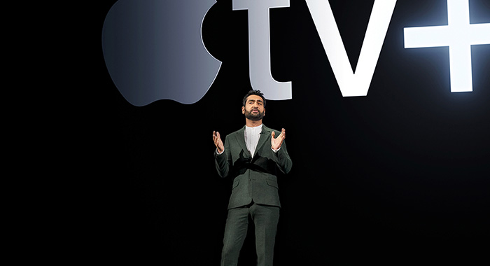 Kumail Nanjiani speaks at the Apple TV+ announcement on March 25 at the Steve Jobs Theater on the Apple corporate campus in Cupertino, CA (Apple)