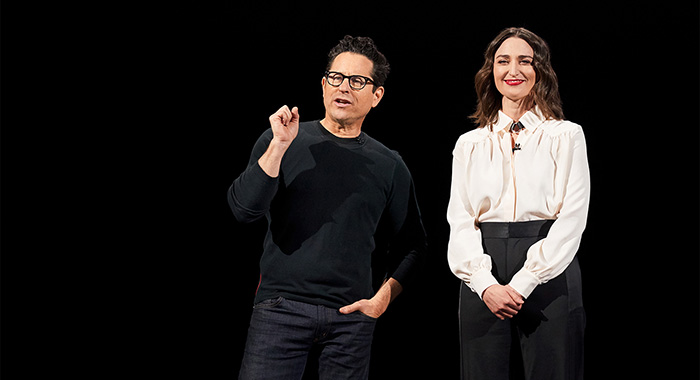 J.J. Abrams and Sara Bareilles speaks at the Apple TV+ announcement on March 25 at the Steve Jobs Theater on the Apple corporate campus in Cupertino, CA (Apple)