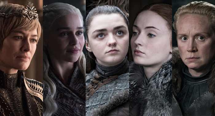 Cersei, Daenerys, Arya, Sansa, and Brienee of Game of Thrones, season 8 (Helen Sloan/HBO)