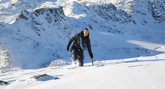 Switzerland - Bear Grylls filming in the Swiss Pennine Alps for the 'Mountains' Episode. (National Geographic/Oliver Clague)