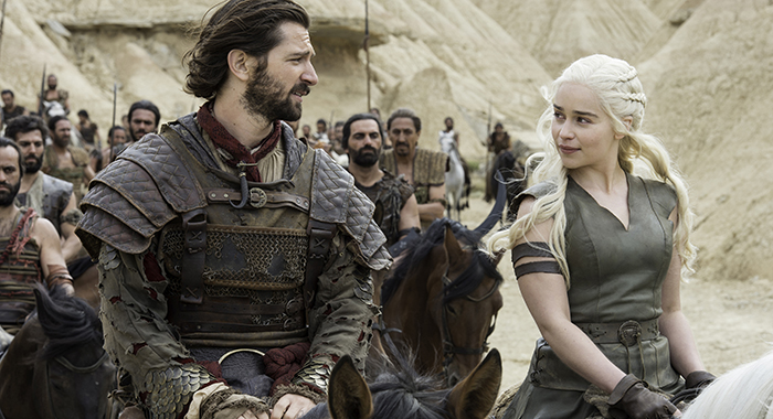 Michiel Huisman, Emilia Clarke in Game of Thrones season 6 episode 6. photo: Macall B. Polay/HBO