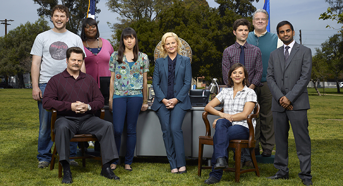 PARKS AND RECREATION -- Season: 3 -- Pictured: (l-r) Chris Pratt as Andy Dwyer, Nick Offerman as Ron Swanson, Retta as Donna, Aubrey Plaza as April Ludgate, Amy Poehler as Leslie Knope, Rashida Jones as Ann Perkins, Adam Scott as Ben Wyatt, Jim O'Heir as Jerry, Aziz Ansari as Tom Haverford -- (Photo by: Mitchell Haaseth/NBC/NBCU Photo Bank via Getty Images)