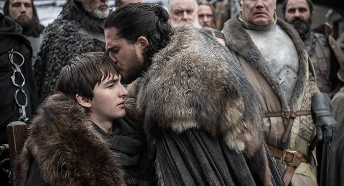 Bran and Jon in Game of Thrones season 8 premiere (Helen Sloan/HBO)