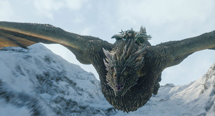 Jon Snow and Rhaegal in Game of Thrones season 8 premiere (HBO)