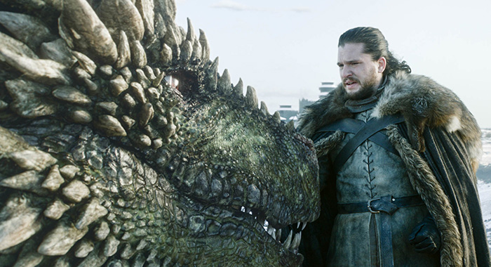 Rhaegal and Jon Snow in Game of Thrones season 8 premiere (HBO)