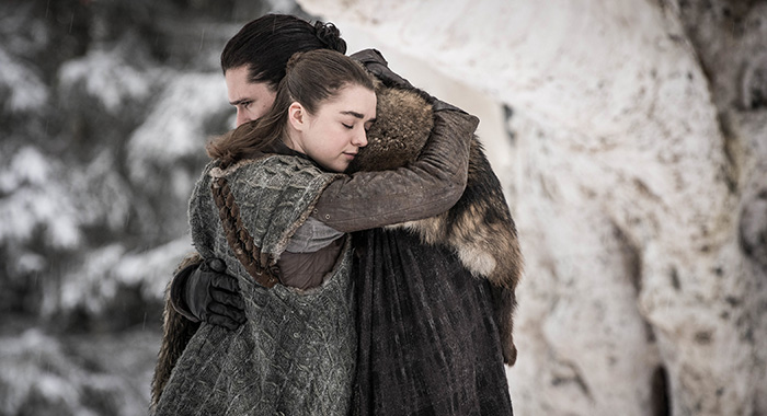 Arya and Jon in Game of Thrones season 8 premiere (Helen Sloan/HBO)