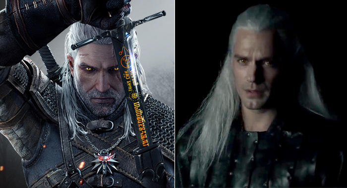 Geralt of Rivia from The Witcher video game series and Henry Cavill as the character for Netflix's The Witcher for Netflix (CD Projekt Red/Netflix)