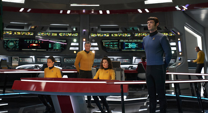 Such Sweet Sorrow, Part 2 -- Ep#214 -- Pictured (l-r): Samora Smallwood as Lt. Amin; Anson Mount as Captain Pike; Rebecca Romijn as Number One; Ethan Peck as Spock of the CBS All Access series STAR TREK: DISCOVERY. Photo Cr: Russ Martin/CBS ©2018 CBS Interactive, Inc. All Rights Reserved.