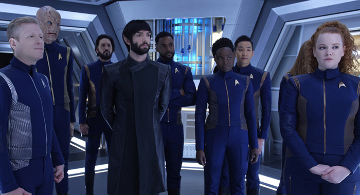 """Such Sweet Sorrow"" -- Ep#213 -- Pictured (l-r): Anthony Rapp as Stamets; Doug Jones as Saru; Shazad Latif as Tyler; Ethan Peck as Spock; Ronnie Rowe as Bryce; Oyin Oladejo as Owosekun; Patrick Kwok-Choon as Rhys; Mary Wiseman as Tilly of the CBS All Access series STAR TREK: DISCOVERY. Photo Cr: Ben Mark Holzberg/CBS ©2018 CBS Interactive, Inc. All Rights Reserved."