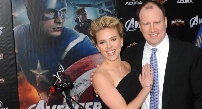 Kevin Feige and Scarlett Johansson (Albert L. Ortega/WireImage)
