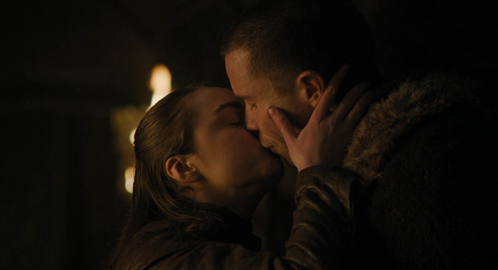 Arya (Maisie Williams) and Gendry (Joe Dempsie) in Game of Thrones season 8, episode 2 (HBO)