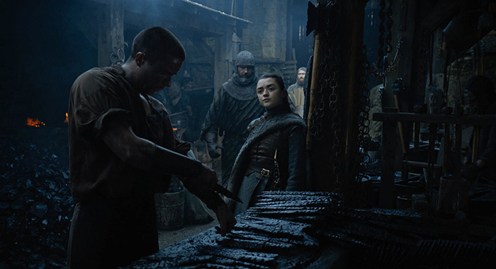 Gendry (Joe Dempsie) and Arya (Maisie Williams) in Game of Thrones season 8, episode 2 (HBO)