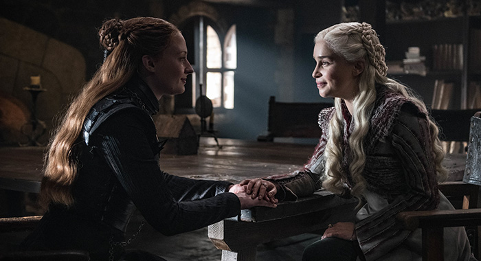 Sansa and Daenerys in Game of Thrones season 8, episode 2 (Helen Sloan/HBO)