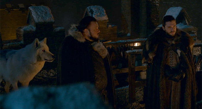 Ghost, Sam, and Jon in a screencap from Game of Thrones season 8, episode 2 (HBO)