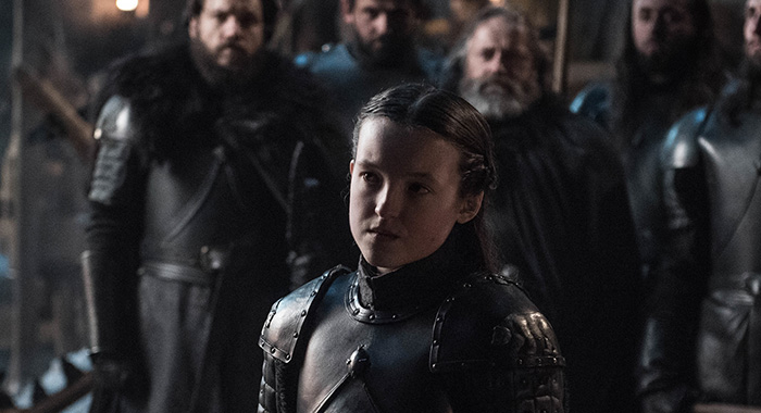 Lyanna Mormont (Bella Ramsey) in Game of Thrones season 8, episode 2 (Helen Sloan/HBO)