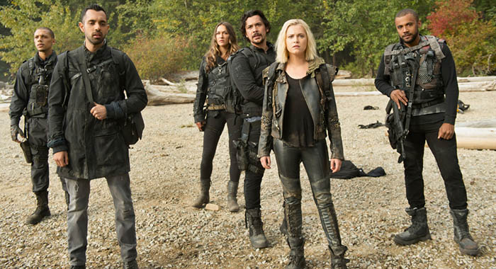 "The 100 -- ""Sanctum"" -- Image Number: HUN601b_0157r.jpg -- Pictured (L-R): Jordan Bolger as Shaw, Sachin Sahel as Jackson, Tasya Teles as Echo, Bob Morley as Bellamy, Eliza Taylor as Clarke and Jarod Joseph as Miller -- Photo: Diyah Pera/The CW"