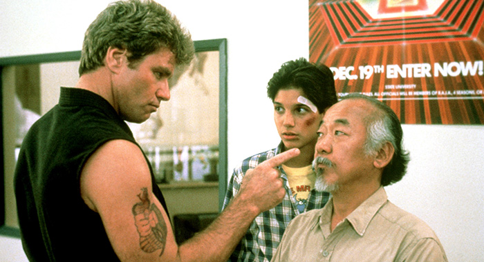 THE KARATE KID, Martin Kove, Ralph Macchio, Pat Morita, 1984, ©Columbia Pictures/Courtesy Everett Collection