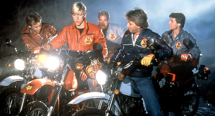THE KARATE KID, William Zabka, (center), with the motorcycle gang, 1984. ©Columbia Pictures/Courtesy Everett Collection