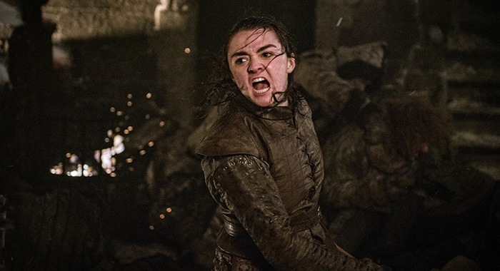 Maisie Williams as Arya Stark episode 3, season 8 Game of Thrones (Helen Sloan/HBO)
