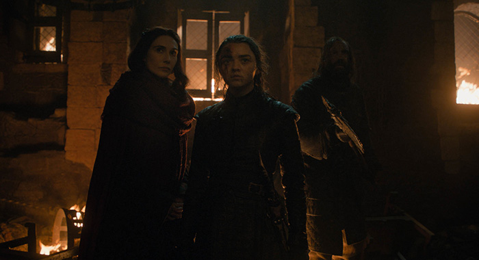 Melisandre, Arya, and The Hound in Game of Thrones episode 3, season 8 (HBO)
