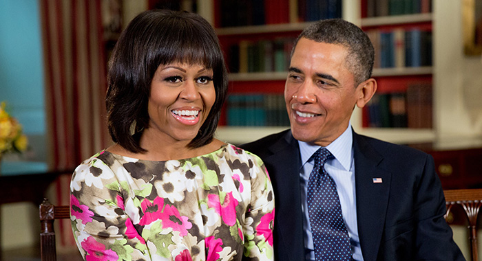 President Barack and Michelle Obama in the Library of the White House, Feb. 19, 2013. They were recording a message for ABC 'Good Morning America' anchor Robin Roberts.