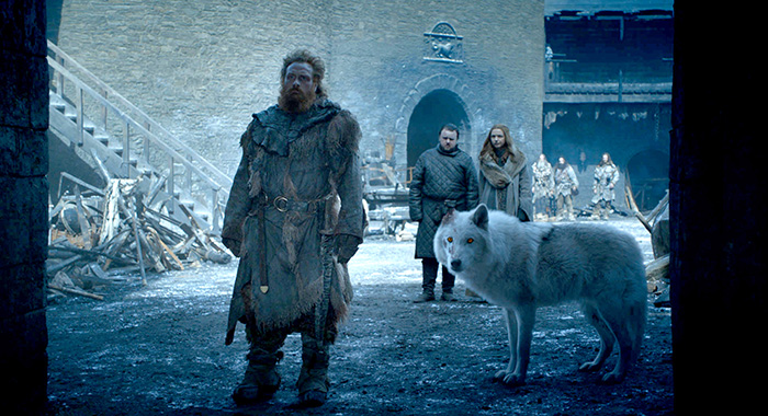 Tormund, Sam, Gilly, and Ghost Game of Thrones season 8, episode 4 (HBO)