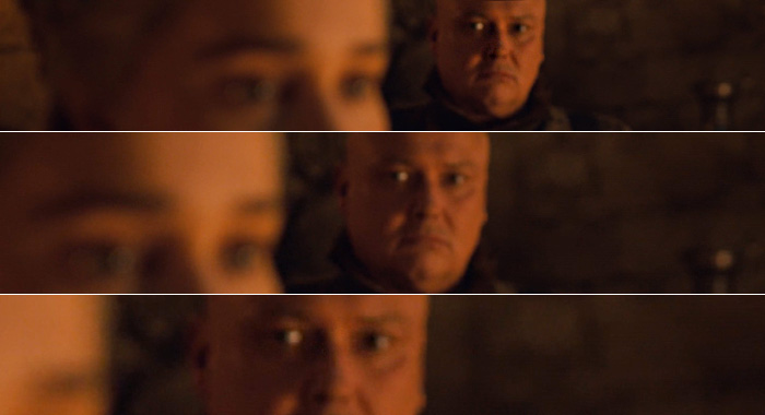 Varys eyes Daenerys in Game of Thrones season 8, episode 4 (HBO)