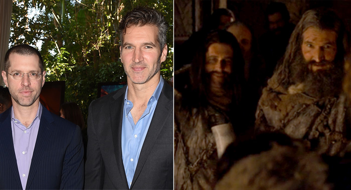 Game of Thrones showrunners D.B. Weiss and David Benioff at the 2018 AFI Awards and costumed in a screenshot from in episode 804 of the series (Kevin Winter/Getty Images for AFI; HBO)