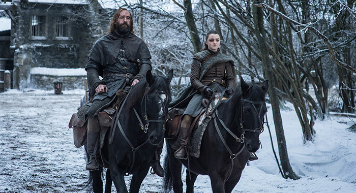 The Hound and Arya in Game of Thrones season 8, episode 4 (Helen Sloan/HBO)