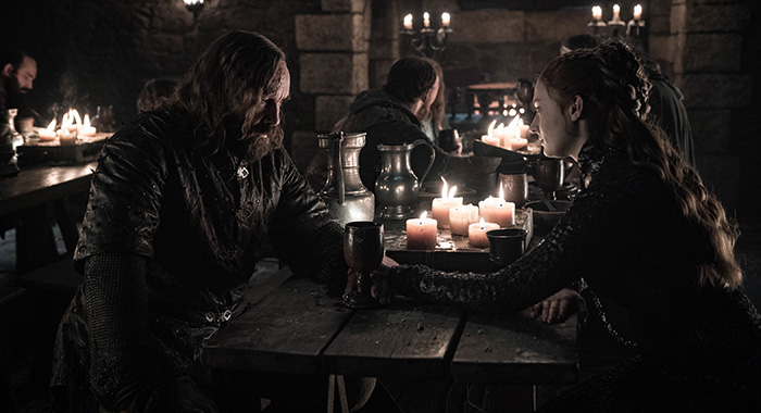 The Hound and Sansa in Game of Thrones season 8, episode 4 (Helen Sloan/HBO)