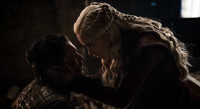 Jon and Daenerys in Game of Thrones season 8, episode 4 (Helen Sloan/HBO)