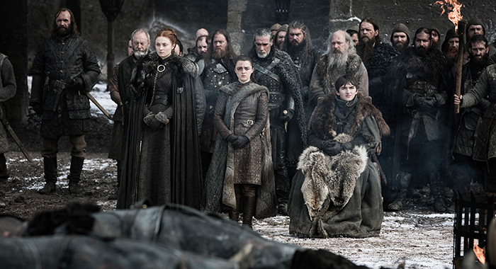 Starks at the funeral in Game of Thrones season 8, episode 4 (Helen Sloan/HBO)