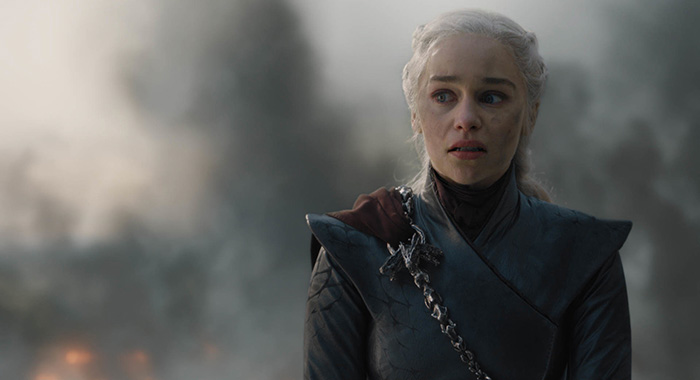 "Emilia Clarke as Daenerys Targaryen in season 8, episode 5 of Game of Thrones, ""The Bells"" (HBO)"