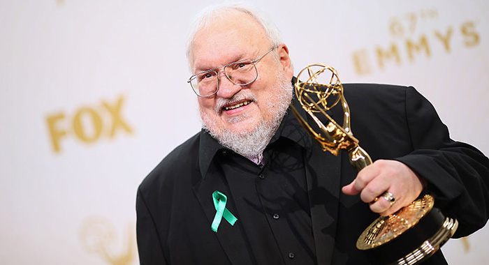 LOS ANGELES, CA - SEPTEMBER 20: Writer/producer George R.R. Martin, winner of the award for Outstanding Drama Series for 'Game of Thrones', poses in the press room at the 67th Annual Primetime Emmy Awards at Microsoft Theater on September 20, 2015 in Los Angeles, California. (Photo by Mark Davis/Getty Images)