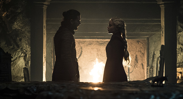 "Jon and Daenerys in season 8, episode 5 of Game of Thrones, ""The Bells"" (Helen Sloan/HBO)"